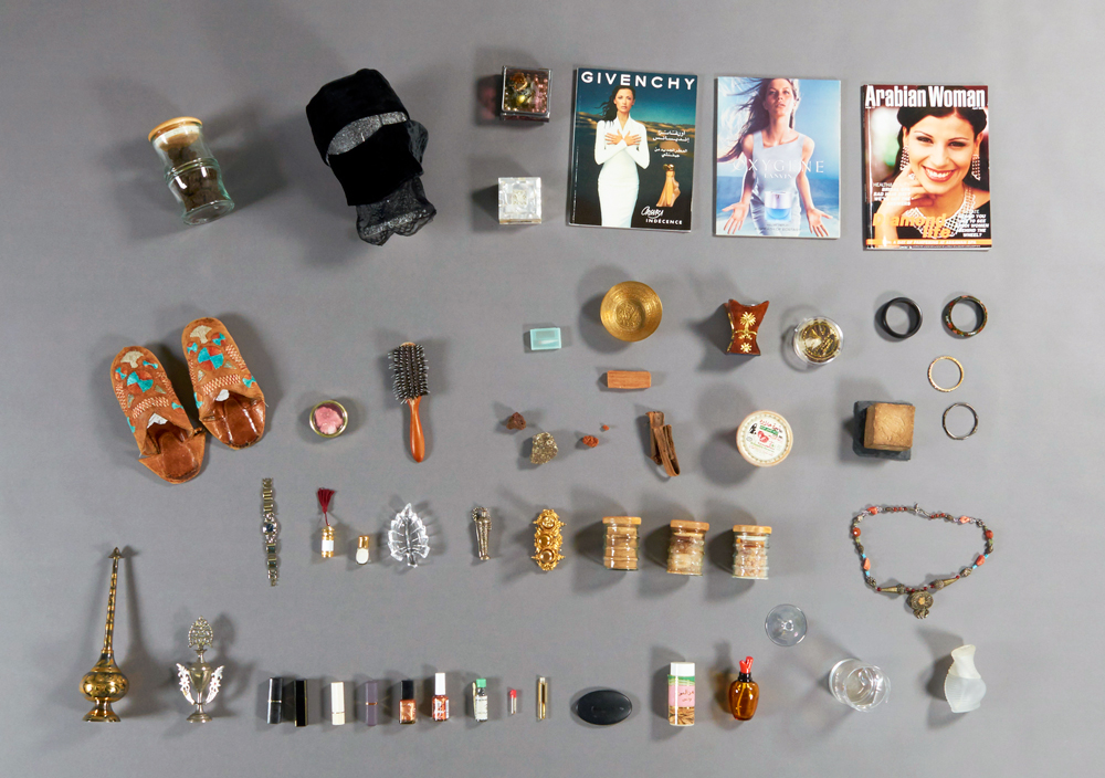 Replacement items used for Laila Binbrek's Mirror, Mirror art installation, including cosmetics, hair products, jewellery, and magazines. Photo: Canadian Museum of History.