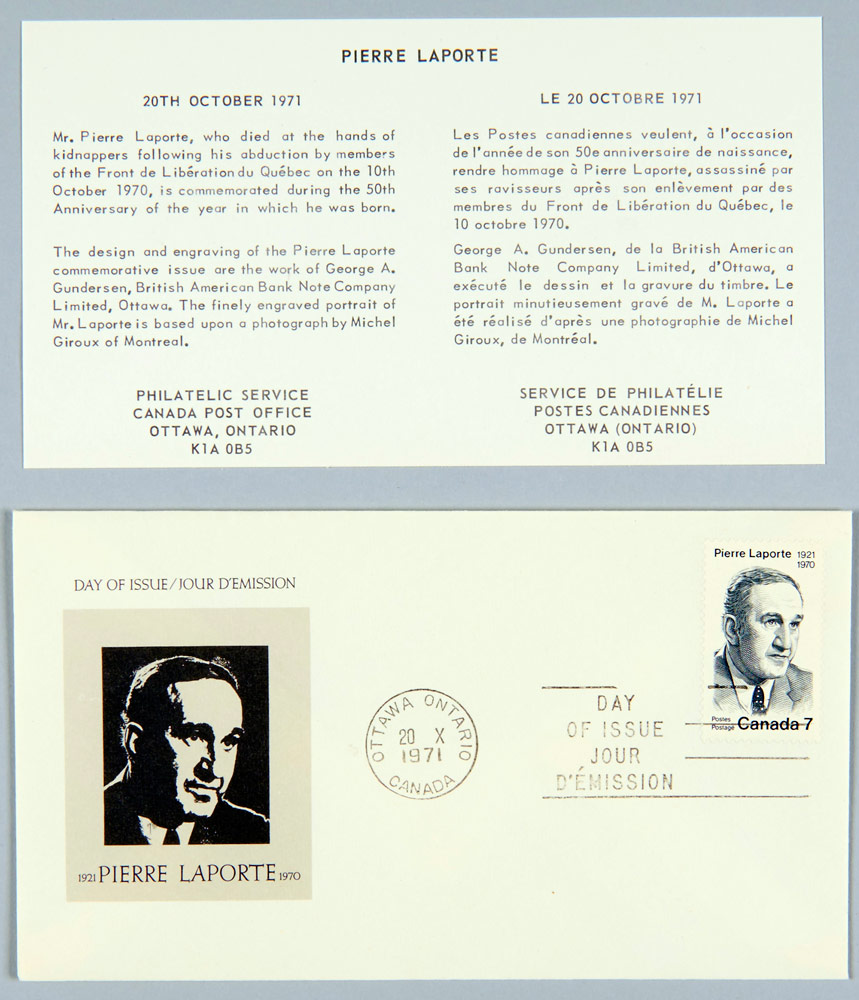 First-day cover issued in memory of Pierre Laporte, Canada Post, 1971.Canadian Museum of History, Photo Archives, IMG2016-0076-0001