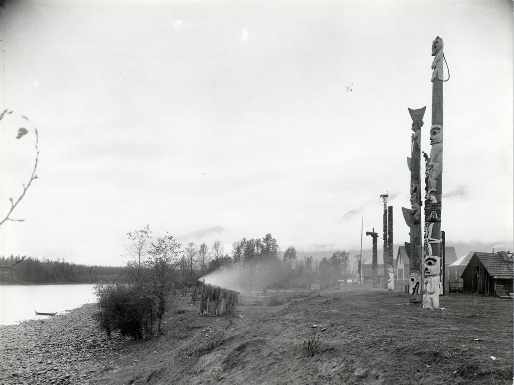 Totem poles along the Skeena River