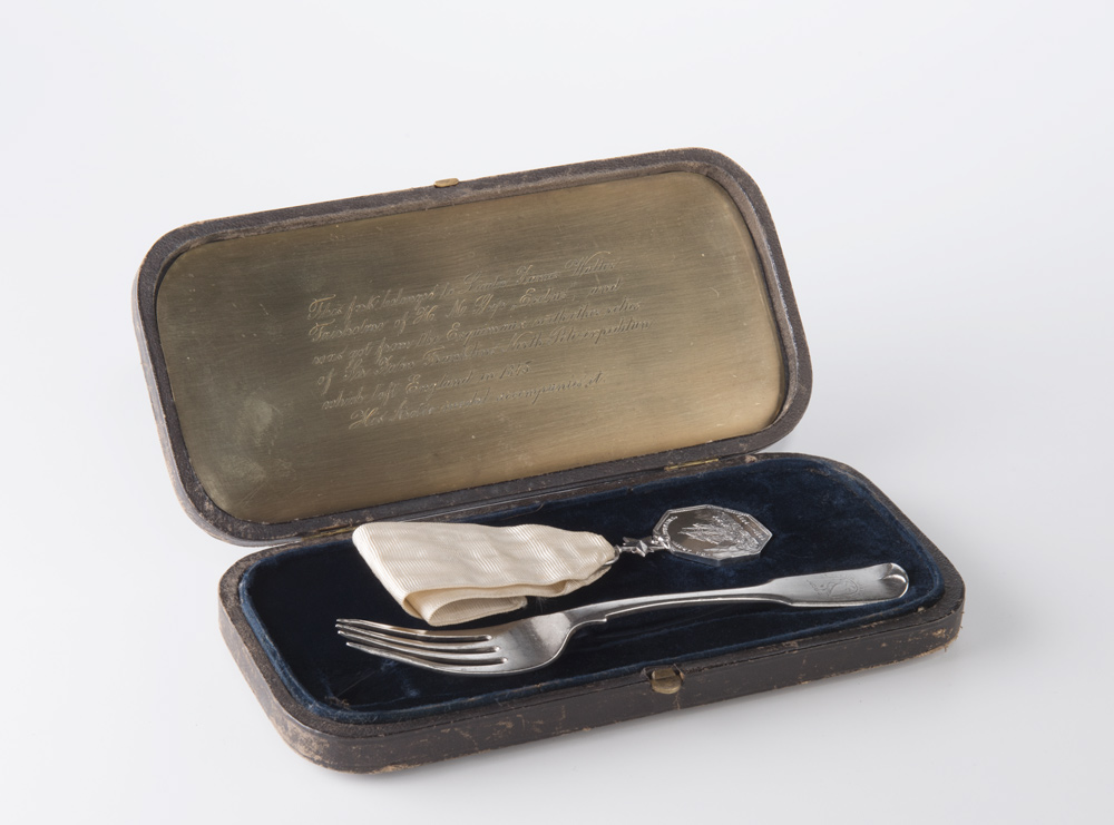 Dessert fork and Arctic Medal