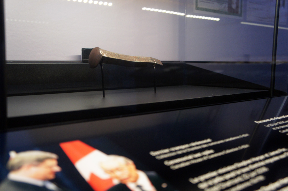 Ceremonial spike iven by Chinese-Canadian leaders to Prime Minister Stephen Harper in 2006.