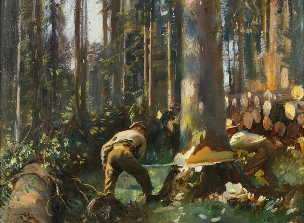 Painting of a man felling a tree