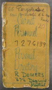 Quebec hükümetinin avukatı ve müzakerecisi Robert Demers tarafından 1970 Ekim Krizi sırasında kullanılan defter.