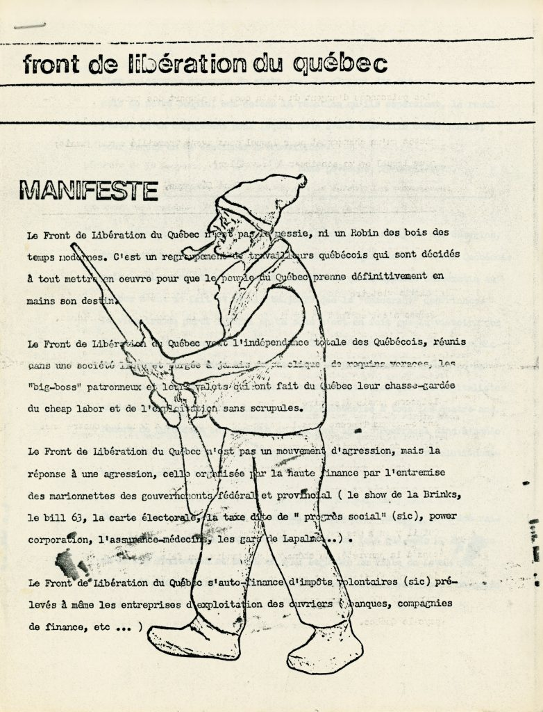 The first page of the Manifeste du FLQ (the FLQ's manifesto), broadcast on Radio-Canada in October 1970.