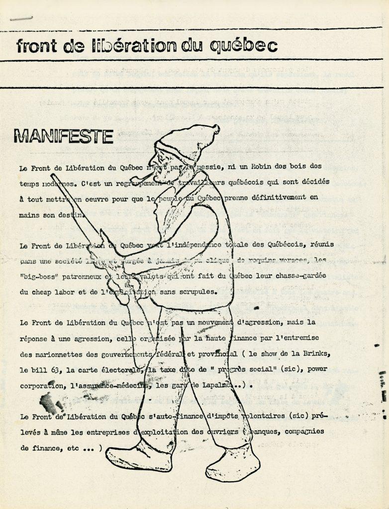 Manifeste du FLQ'nun (FLQ'nun manifestosu) ilk sayfası, Ekim 1970'te Radio-Canada'da yayınlandı.