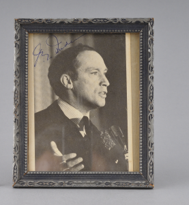 Framed, autographed photograph of Canadian prime minister Pierre Elliott Trudeau,