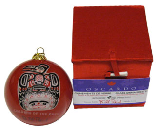 Bill Reid Glass Ornament - Red - Children of the Raven::  Ornement de verre Bill Reid - Rouge - Children of the Raven