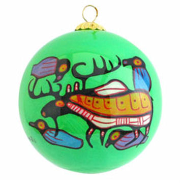 Norval Morrisseau Glass Ornament - Moose Harmony:: Ornement de verre Norval Morrisseau - Moose Harmony