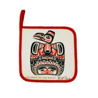 Bill Reid Children of the Raven potholder:: Sous-plat en tissu avec l'