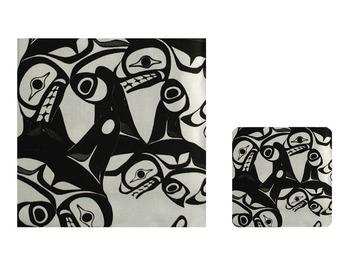 Bill Helin Many Whale Laminated Coasters (4):: Sous-verres (4) lamin
