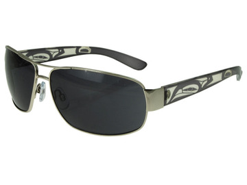 Men's Aviator Sunglasses, featuring a Eagle design by Corrine Hunt:: Lunette de soleil Brendan de pilote avec un aigle, par l'artiste Corrine Hunt