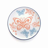 Porcelain Art Plate - Butterfly and Wild Rose by Justien Senoa Wood