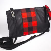 Deerskin Leather Purse with a Linen Lumberjack Design
