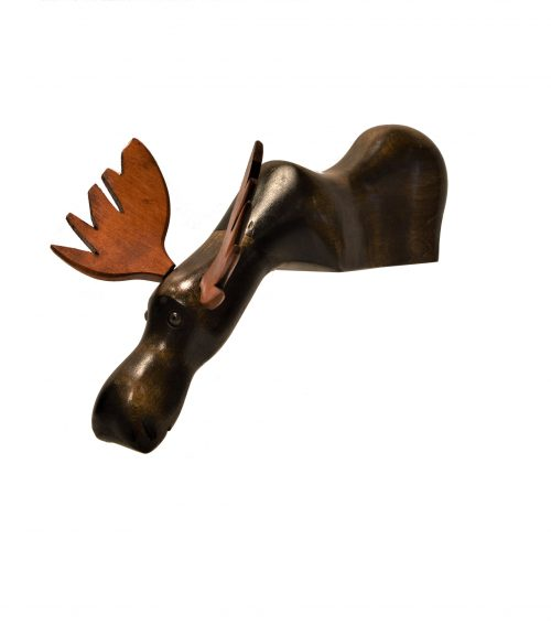 Hand-crafted Wood Sculpture - Curious Moose