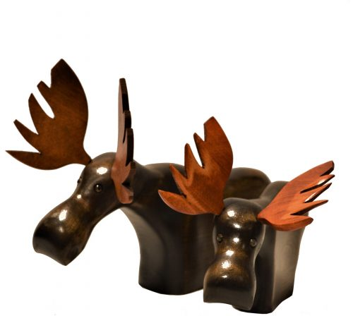Wooden Standing Moose Sculpture