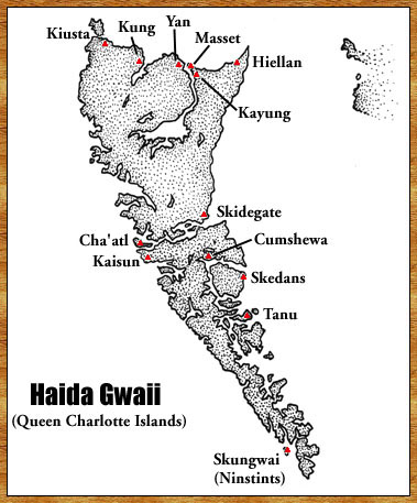 map of villages on Haida Gwaii