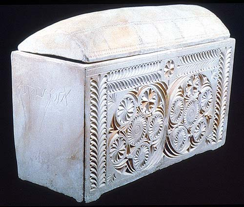 Ossuary of Joseph, son of Caiaphas. Jerusalem. 1st century. Limestone. Israel Antiquities Authority Collection, exhibited at the Israel Museum, Jerusalem. (Image copyright: Israel Museum, Jerusalem)