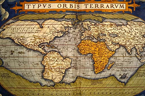 World Map In Renaissance. 1565 World Map Civilization ca  Voyages of Martin Frobisher 1576 A meeting