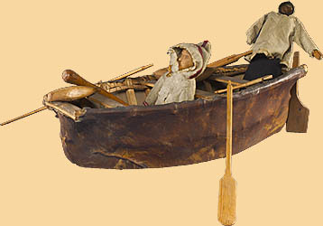 Model Umiak With Figures And Accessories