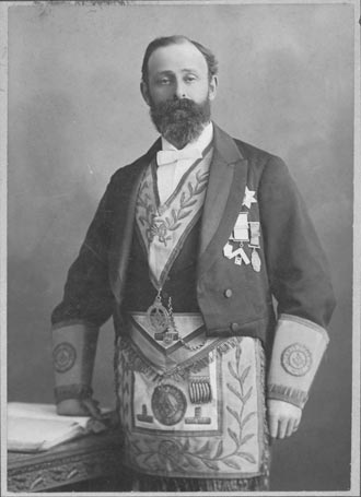 Photograph of John Milton Shaw in his Freemason regalia