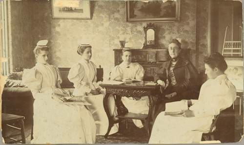 Photograph of a group of students with Miss Mary Agnes Snively at the Toronto General Hospital School of Nursing