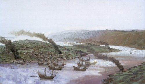Basque galleons ride at anchor in Red Bay, Labrador