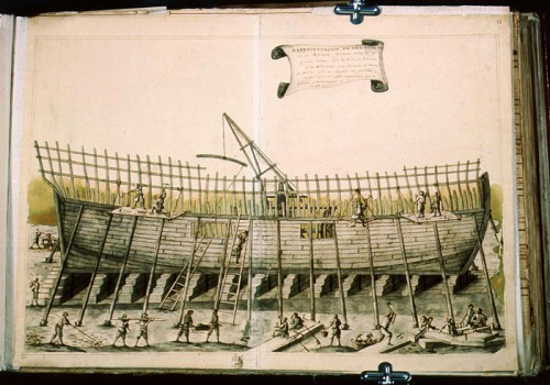 A frigate under construction, first half of the eighteenth century