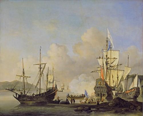 French Merchant Ships at Anchor, c. 1670