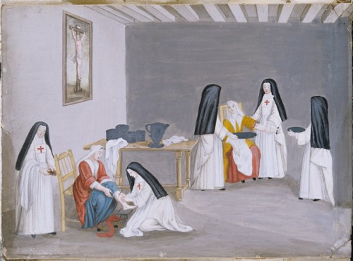Nuns attending the sick