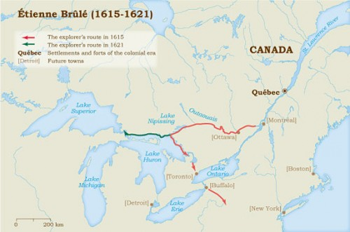 "Itineraries of Étienne Brûlé, first Frenchman to journey into the ""Pays d'en Haut"" or Upper Country"