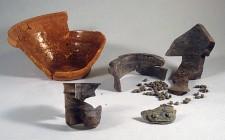 Normandy stoneware jar and coarse earthenware bowl