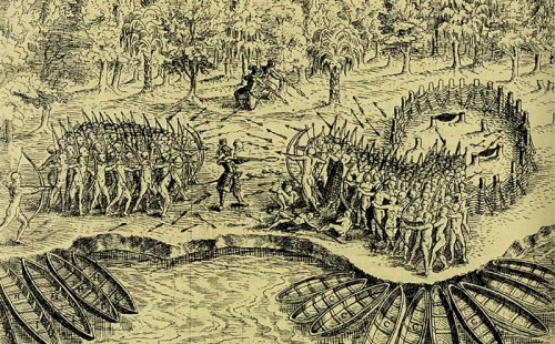 Defeat of the Iroquois at Lake Champlain in 1609