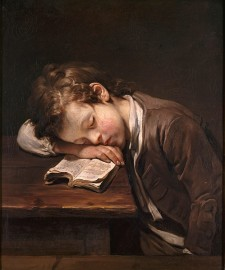 Little idler, painting by Jean-Baptiste Greuze, 1755.