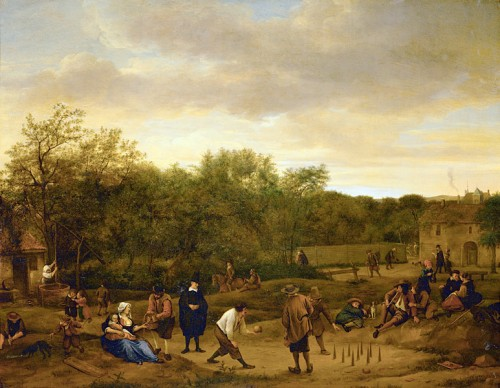 """Farmers Playing at Skittles,"" by the Dutch painter Jan Steen, around 1650."