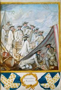 """Grenadiers with Card and Dice, From a manuscript entitled """"Troupes du Roi, Infanterie française et étrangère, année 1757, tome I, Pl. 108."""