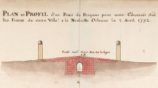 Plan andprofile of a brick bridge to be built on the ditches from the city to New Orleans, April 2, 1732, signed by Broutin (detail)