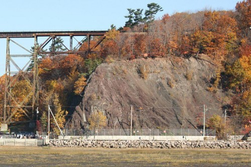 View of the cliff the archaeological site Cartier-Roberval