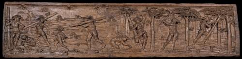 Carved panels entitled: Brazil Island