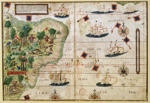 Map of Atlantic Ocean Sud-West and Brazil by Lopo Homem