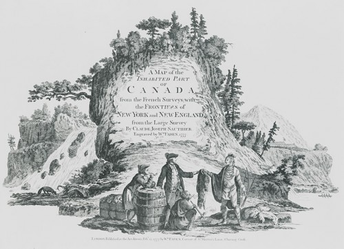 Merchant trading with an Indian, detail from frontispiece: A map of the Inhabited Part of Canada…, William Fadden, 1777