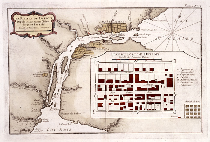 Plan du Fort Detroit, French of detroit, Detroit river region, family history, genealogy
