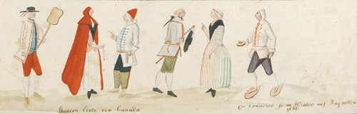 Detail view of Genre Studies of Habitants and Indians, anonymous, c. 1780