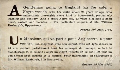 Announcement of sale of slaves appeared in the Quebec Gazette May 12 1785