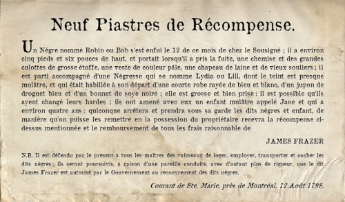 Escape of slaves published in the Quebec Gazette, August 10, 1798