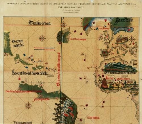 Carta da navigar per le Isole nouam… in le parte de l'India, planisphere fragment facsimile sent to Alberto Cantino in 1502, the original located at the Bibiotheca Estense, Modèna