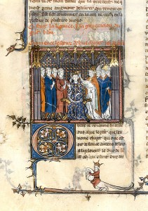Coronation of Hugues Capet, 1st quarter of 14th century, from the Grandes Chroniques de France