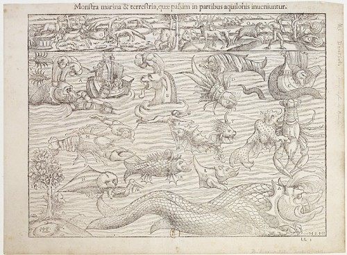 Land and Sea Monsters, 1556, by Sebastian Münster