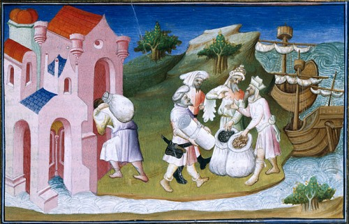 Merchants on the Yellow River, ca 1410-1412, by illuminator the Master d'Ergeton