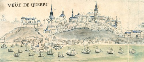 The Château St. Louis, detail of the View of Quebec and figurative map of swift help…sent to King's ship the Elephant, Mahier, 1729
