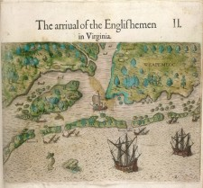 The arrival of the Englishmen in Virginia, illustrated by Theodor de Bry